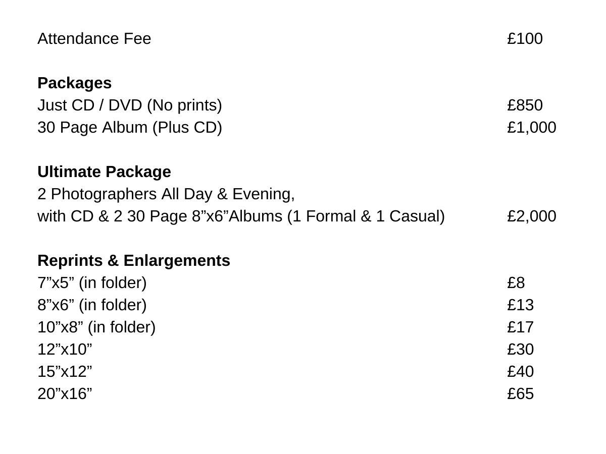Wedding Prices